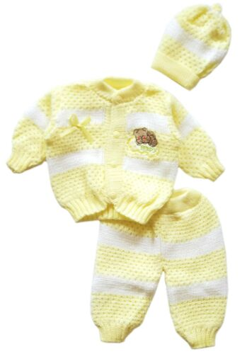 Baby Crochet Girl and Boy Newborn Beanie Hat Sweater and Pants 3 PC Outfit Set