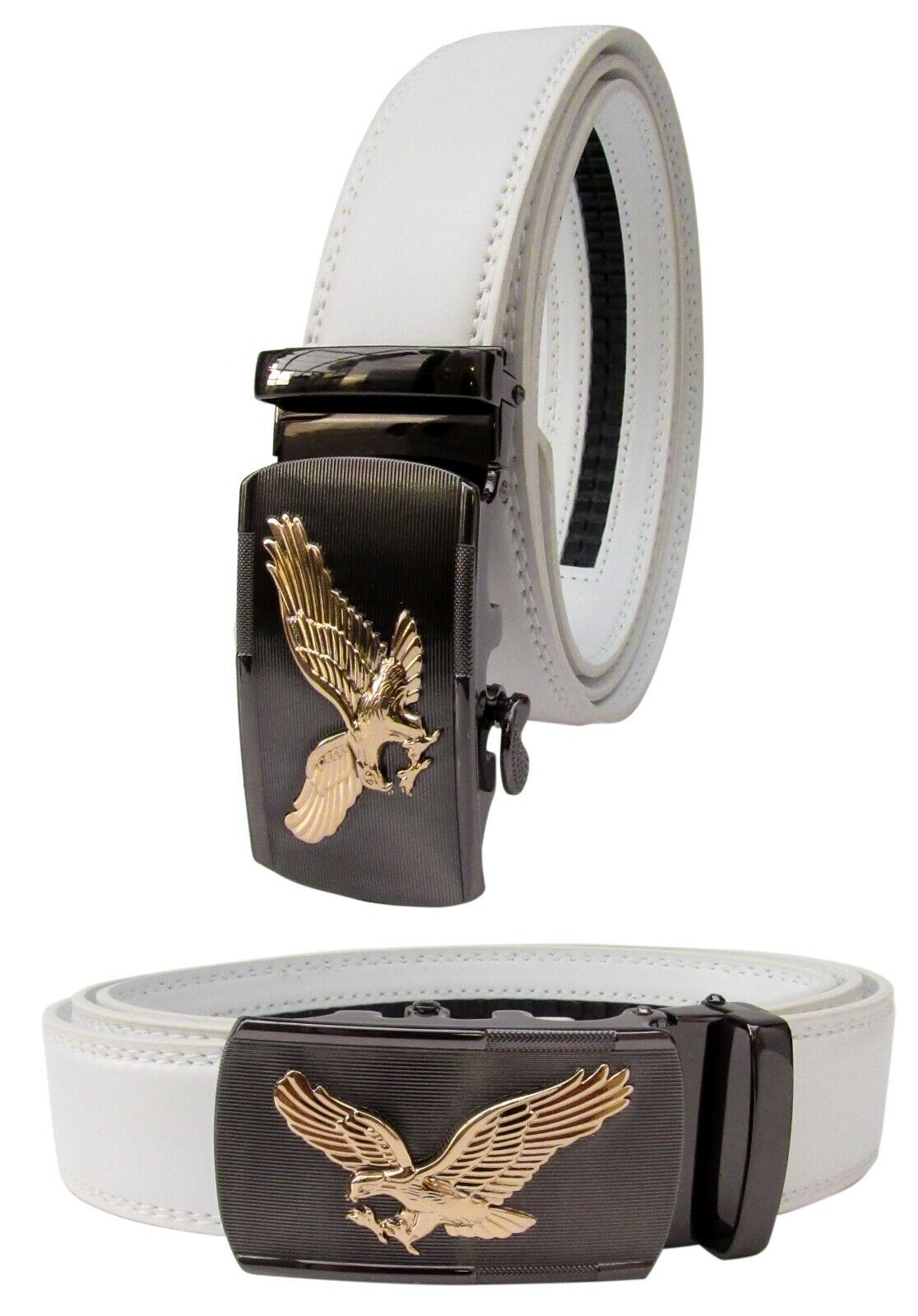 Men Gold Eagle Buckle White Genuine Leather Belt Automatic Ratchet Click Lock Belts