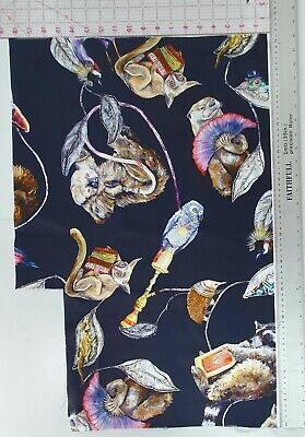 House of Hackney EMPIRE black cotton sateen animal fabric craft large remnant