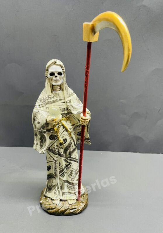 "La Santa Muerte Dinero 8"" Grim Reaper Death Money Print -Skull, Skeleton Statue"