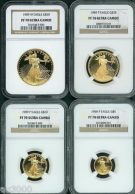 Click now to see the BUY IT NOW Price! 1989 4 COINS SET W & P $50 $25 $10 $5 GOLD EAGLE NGC PR70 PROOF PF70