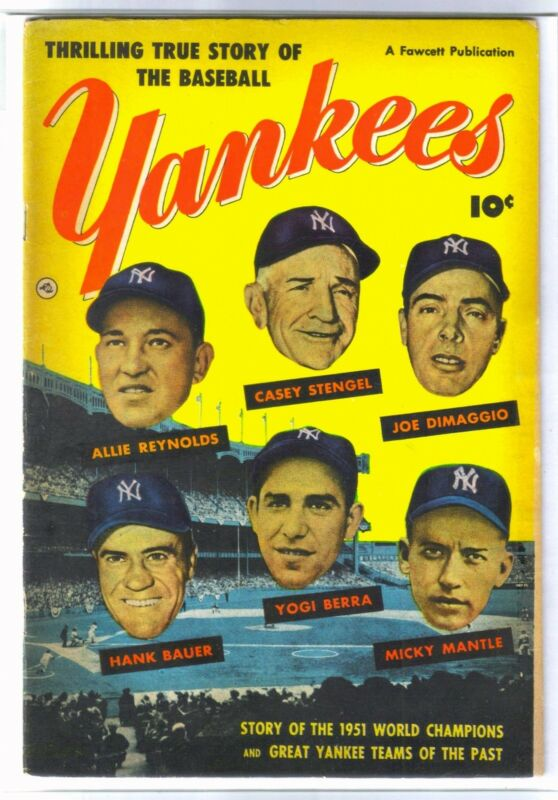 NEW YORK YANKEES Mickey Mantle, Joe DiMaggio, Yogi Berra Fawcett Comic Book~ FN+