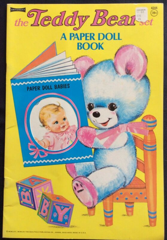 Teddy Bear Set Paper Doll Book, Uncut 1970, W/ 6 Pgs of Clothes, Louise Rumely