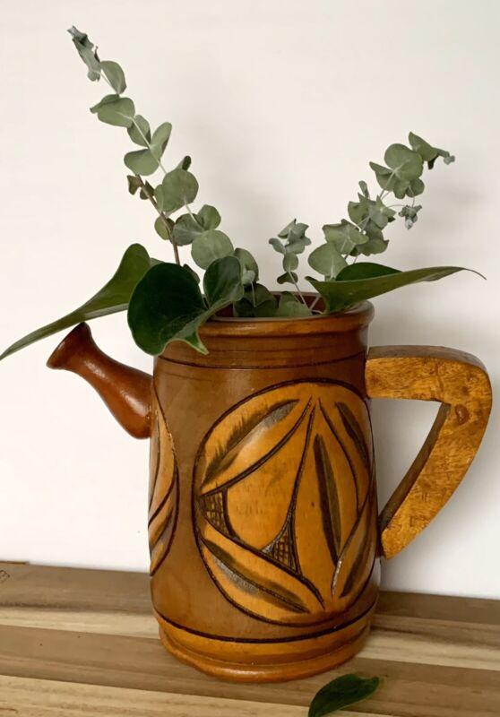 HandTurned ? Handmade Wooden Pitcher Tropical Design Floral Boho Hipster Planter