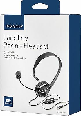 NEW Insignia NS-MCHMRJ9P Landline RJ9 Home Phone Hands-Free Headset w/Microphone