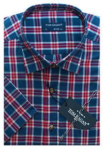 Mens Short Sleeve Summer Yarn Dyed PolyCotton Check Shirt M - 3XL By Tom Hagan