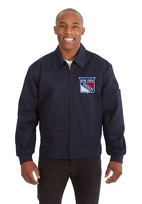 NHL New York Rangers JH Design Cotton Twill Zip Front Workwear Jacket Navy new