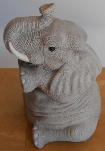 """Elephant Sitting with Trunk Up Bank Makers of America Original Stopper 10"""" H"""