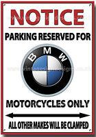 Bmw, Observar Aparcamiento Reservados Para Bmw Motocicletas Solo Metal Signo -  - ebay.es