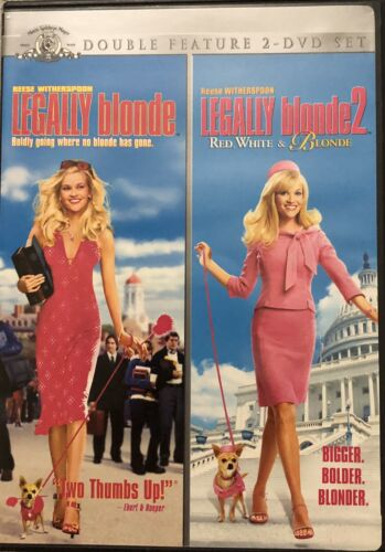 Legally Blonde 1 2 Double Feature DVD 2 Disc Set Reese Witherspoon - $2.99