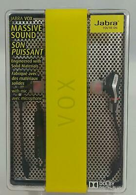 JABRA VOX CORDED STEREO EARPHONES W/ DOLBY DIGITAL PLUS BLACK NEW  for sale  Shipping to India