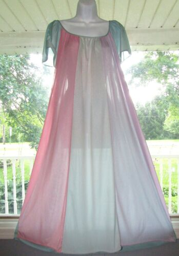 Vintage Rainbow nylon Nightgown long Striped Pink blue purple Green Sz L XL