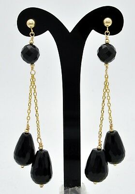 ( New 14K Solid Gold 15x 9 Natural black onyx Teardrop Drop Dangle Earrings)