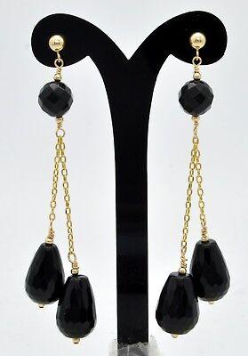( New 14K Solid Gold 15x 9 Natural black onyx Teardrop Drop Dangle Earrings)