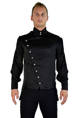 SHRINE EMPIRE SATIN GOTHIC VAMPIRE STEAMPUNK EDWARDIAN VICTORIAN JACKET SHIRT Casual Button-Down Shirts
