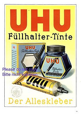Ink & adhesive UHU XL 1941 German ad fountain pen advertising Buhl Germany ad +