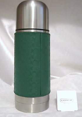 NEW Omnibus SIGNATURE LEATHER HOT/COLD STEEL CANISTER COFFE BEVERAGE THERMOS GREEN