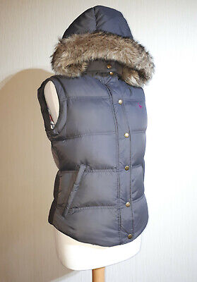 Jack Wills Down Filled Hooded Gilet With Fur Trim Hood Ladies UK 10 Seal Grey Trim Down Jacke