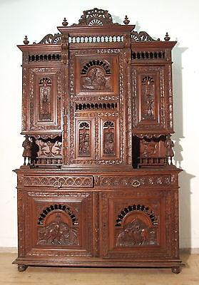 E46A Rarität: Wunderschönes antikes Buffet massiv Kastanie Bretagne um 1890