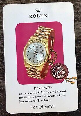 ROLEX DAY-DATE Vintage Flyer Leaflet Card Brochure Oysterquartz President 1803