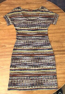 Vintage Missoni Italy Multicolor ZigZag Knit Dress Small Square Neck Cap Sleeves