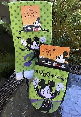 Disney Mickey Mouse Halloween 2 Oven Mitts & 2 Kitchen Towels Un-BOO-Lievable