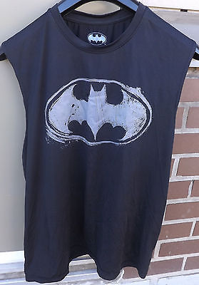 BATMAN Mens Muscle Tank Top Distressed Logo Black and Grey Size Large for sale  Scarborough