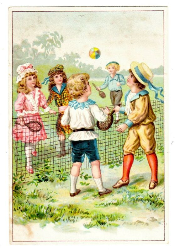 TRADE CARD U.S. LION COFFEE CHILDREN PLAY TENNIS (OF SORTS) (SB)