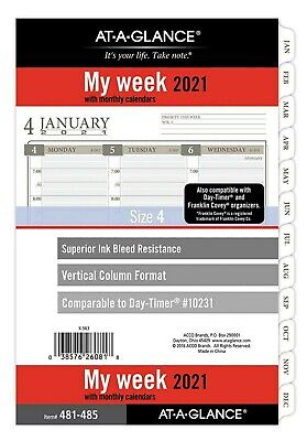 2021 Weekly Monthly Planner Refill At-a-glance Vertical Column