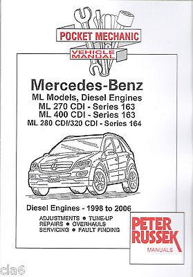 Mercedes Benz ML 270 280 320 400 CDI Diesel Pocket Mechanic Manual 1998-2006 NEW
