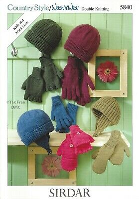 VAT Free Knitting PATTERN ONLY Sirdar Family Adult Child Hats & Gloves 5840 New Free Knitting Pattern Baby Hats