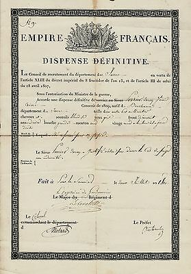 NAPOLEONIC DISCHARGE FOR CONSCRIPT JULY 2,1810