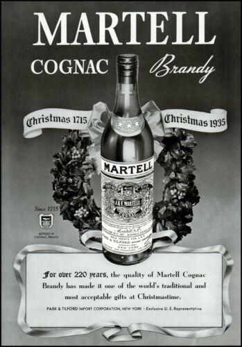 1935 Martell cognac brandy Christmastime bottle vintage photo print ad adL56