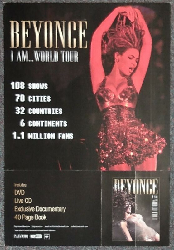 Beyonce I Am World Tour 2010 DOUBLE-SIDED CARDBOARD PROMO POSTER