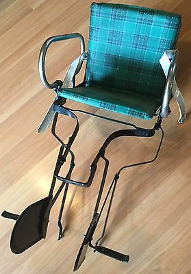 OLD VTG METAL CHILD BICYCLE SEAT ATTACHMENT ACCESSORY CHAIR TAIWAN PLAID VINYL