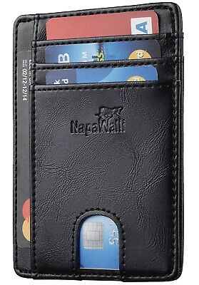 Napa Walli RFID Blocking Genuine Leather Slim Front Pocket Wallet Black, Boxed