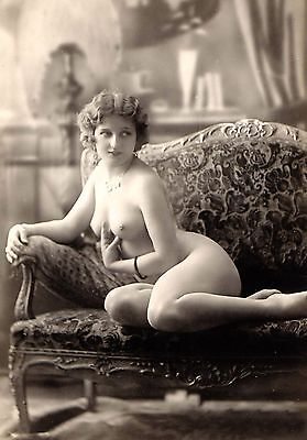 "1800's Sitting nude photo of beautiful woman, vintage erotic Art decor 16""x11"""