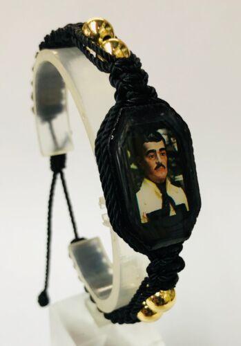 Pulsera de Jesus Malverde BK doble tejida gold plated bead bracelet hecha a mano