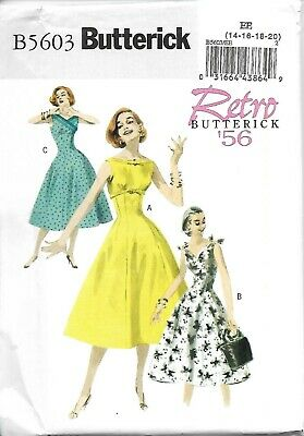 BUTTERICK PATTERN B5603 RETRO CIRCA 1956 DRESSES MISSES SIZES 14-20 NEW UNCUT