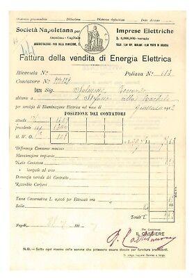 SOCIETA' NAPOLETANA IMPRESE ELETTRICHE 12 FATTURA ENERGIA ELETTRICA 1912 NAPOLI