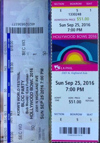 2016 Bob Mould & Bloc Party Hollywood Bowl Ticket Stubs 9/25/16 - Hollywood Ca.