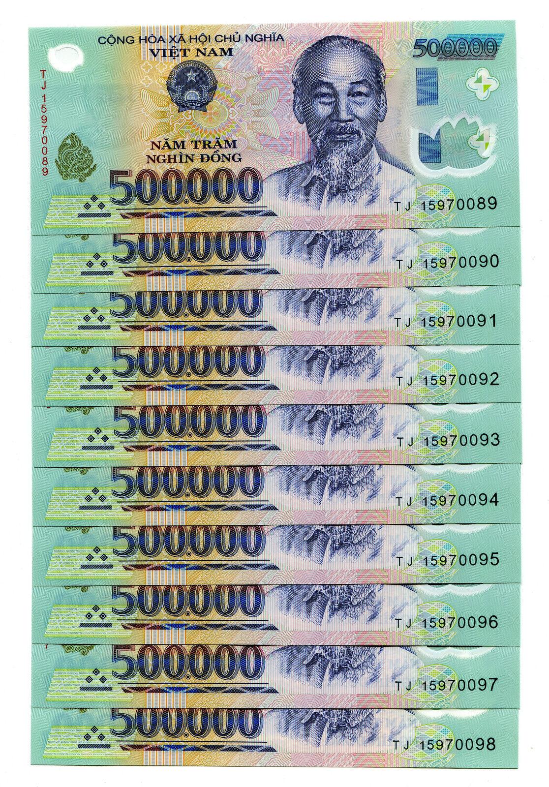 1 MILLION VIETNAM DONG 500k Z 2 Vnd Note 2 x 500,000 Unc Vietnamese Banknotes