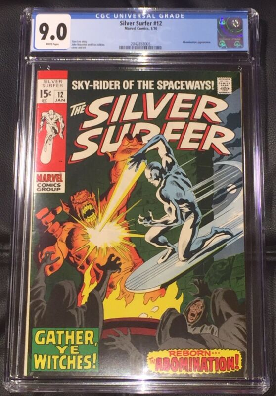 Silver Surfer #12 CGC 9.0  1/70! Abomination Appearance! White pages! Stan Lee!