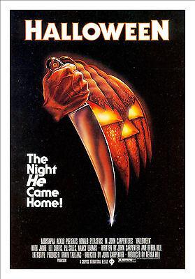 Gerahmt Retro Filmposter – Halloween 1978 (Replik Druck Horror Kino Film )