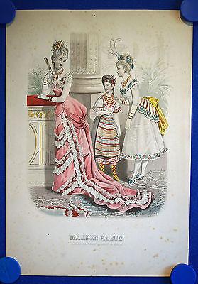 MASKEN - ALBUM Nr. 7 - sehr schön kolorierter Original-Stahlstich um 1880!