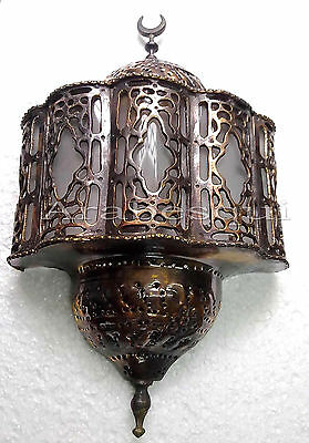 BR139 Curved White Stained Glass Handcrafted Arabian Art Brass Wall Decor Sconce