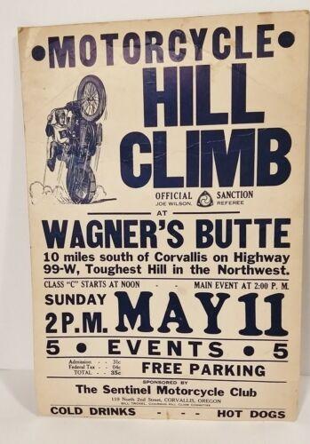 ULTRA RARE! Vintage Motorcycle Hill Climb Event Poster 1941 Corvallis Oregon