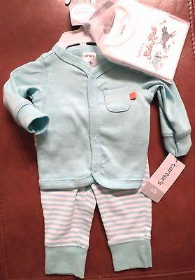 Carter's Baby Boys 3 Pc Set Bodysuit/Pants/Cardigan 'Daddy's SideKick' Newborn