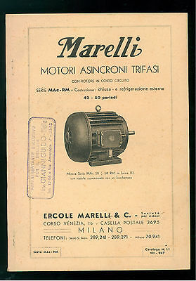 ERCOLE MARELLI MILANO MOTORI ASINCRONI TRIFASI SERIE MAC-RM CATALOGO 11 1947
