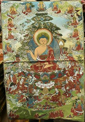 90CM Tibet Cloth Silk Shakyamuni Amitabha Buddha Teach Thangka Tangka Mural